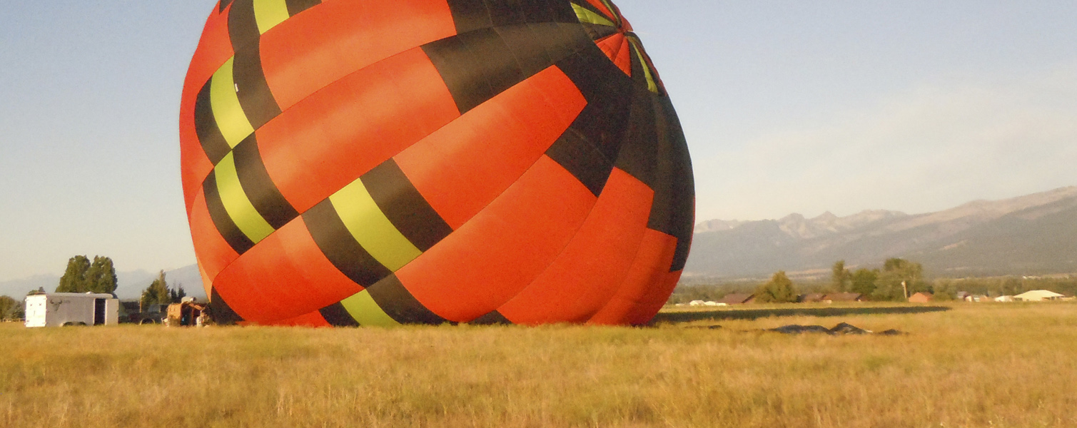 Ready to stand-up the hot-air balloon 'LadyBug', for a flight in the Bitterroot Valley of Western Montana